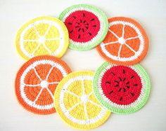 6 porta copos de crochê Salada de frutas