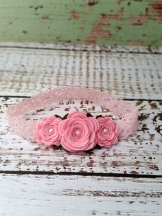 Felt Flower Headband Baby Pink Rose by SwankyPickleBoutique