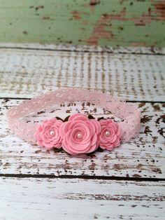 Felt Flower Headband Baby Pink Rose by SwankyPickleBoutique