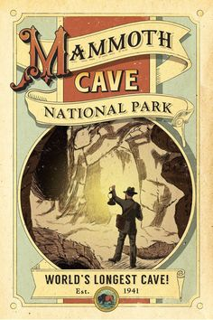 Take your trip with Glamulet charmsMammoth Cave Poster National Park Posters, Us National Parks, Tarzan, Wpa Posters, Retro Posters, Mammoth Cave, Vintage Travel Posters, Poster Vintage, Vintage Advertisements
