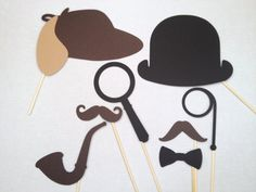 8 Sherlock Holmes und Watson Foto Booth Props - Buchclub Foto Booth Props - Vintage Photo Booth Props - rustikale Photobooth Props