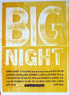 Big NIght Letterpress poster for Just Buffalo Literary Center - Jan 2010