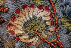 Silk and gold embroidery, Italy, 16-17th century. The beads in this piece are most likely real corals.
