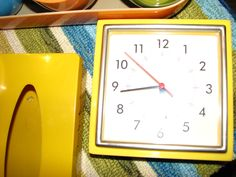 Vintage Pottery Barn clock and tissue holder