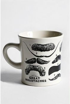 A fine mustachioed mug, changing the face of your morning coffee forever! Classic ceramic mug, printed with some of the world's most awesomely important moustaches, including: Albert Einstein, Salvador Dali, Groucho Marx, Teddy Roosevelt, William Shakespeare and more! Imported. Hand wash.