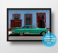 Vintage Green Buick Digital Download Cuba Car Photography