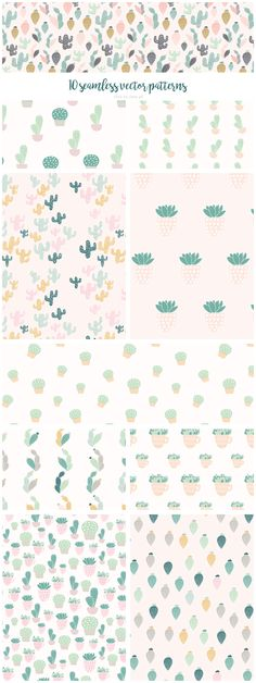 Cactus: seamless vector patterns by Elan Blog Studio on @creativemarket