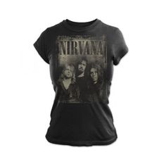 Neutral Jumbo Photo Womens T- Nirvana Women's T-Shirts |... ❤ liked on Polyvore featuring tops, t-shirts, shirts, band shirts, t shirts and tee-shirt