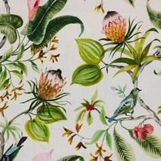 Tropical Upholstery Fabric, Upholstery Fabrics, Green Fabric, Floral Fabric, Fabric Decor, Fabric Design, Textile Design, Leaf Book, Art
