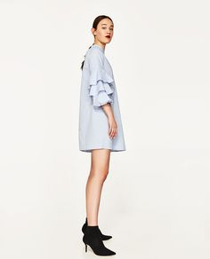 FRILLED-SLEEVE DRESS