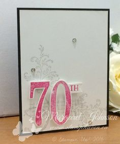 Timeless Texture stamp set, Number of Years stamp set and Large Numbers Framelits - Images © Stampin' Up! Card design by Margaret Johnson - www.stamphaven.ca