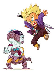 Mirai Trunks y Freezer Anime Chibi, Chibi Kawaii, Art Anime, Dragon Ball Gt, Character Art, Character Design, Manga Dragon, Ball Drawing, Fan Art