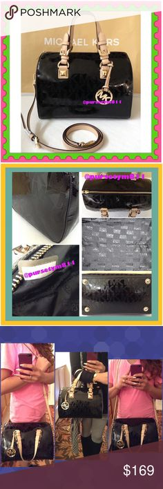 """Authentic Michael Kors Black Logo Handbag 100% AUTHENTIC! Beautiful classic black logo bag from Michael Kors. Crossbody, top handle & shoulder bag. Approximate measurements: Length 11 1/4"""" Height 8"""" Width is almost 7"""" w/ adjustable & detachable strap. Yellow good tone hardware. Zipper top closure w/ 5 interior pockets. Bottom feet for protection and a very pretty small MK exterior charm. GORGEOUS! PRICE FIRM. Michael Kors Bags"""
