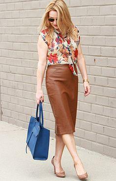 camel leather skirt, floral blouse