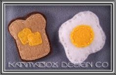 Bacon and egg felt hair clips by Karmabox