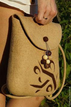 """Женские сумки ручной работы. Ярмарка Мастеров - ручная работа Рюкзак валяный женский """"Шоколадная пастель"""". Handmade."""