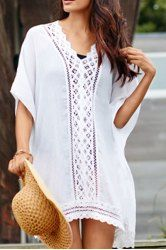 Sexy V-Neck 1/2 Sleeve Openwork Cover-Up For Women
