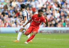 Jordon Ibe of Liverpool celebrates after scoring a goal to make it 1-1 during the Barclays Premier League match between West Bromwich Albion and Liverpool at The Hawthorns on May 15, 2016 in West Bromwich, England.