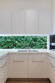 Low line kitchen window looking onto a hedge of green Lily Pillies, recent kitchen renovation, Melbourne. Stock image available to license here: http://www.shutterstock.com/pic-259458362/stock-photo-residential-contemporary-kitchen-sink-with-low-window-showing-a-green-hedge.html?src=J2VICx-_JSHWad8ADqshoQ-1-3?rid=131308