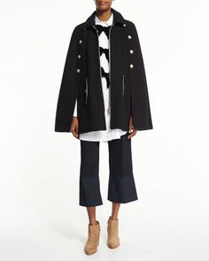 Wool-Blend+Felt+Zip-Front+Cape,+Long-Sleeve+Poplin+Bow-Trim+Tunic+&+Cropped+Flare+Crepe+Trousers+by+See+by+Chloe+at+Bergdorf+Goodman.