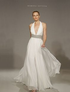 Legends by Romona Keveza - Halter Sheath Gown in Silk Chiffon