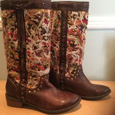"""TAPESTRY BOOTS Absolutely beautiful  1"""" heel boots with spectacular multi color woven tapestry design. They have leather woven down the sides and around the top. There are two tassels with a great ornate metal tip at the bottom of the tassel. Love love these comfortable boots but I have to clear out my closet!  Make an offer Shoes Heeled Boots"""