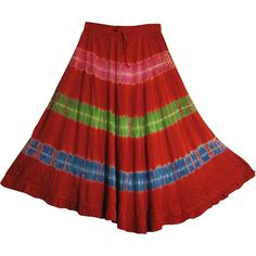 Bohemian Tie-Dye Embroided Gypsy Ruffled Mid-Length Skirt ZENA -- You can get additional details at the image link.