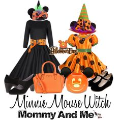 Halloween Time Minnie Mouse Witch Mommy and Me Costumes by hatandmouse on Polyvore featuring Disney, Johnston & Murphy, DKNY and vintage