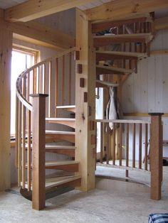 Spiral Stair in Timber Frame Cabin - http://timberhomesllc.com/spiral-stair-in-timber-frame-cabin/?utm_content=bufferd2f1b&utm_medium=social&utm_source=pinterest.com&utm_campaign=buffer