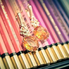 """Коллекция """"Коктейль"""" Серьги из желтого золота 585 пробы с бриллиантами и цитринами. Артикул: 171019"""