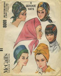 Vintage Hat Sewing Pattern | McCall's 8009 | Year 1965 | Head Sizes 22½-23 | Quickie Scarf Hats and Hood