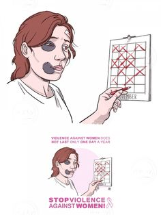 3/4 woman, victim of beatings, marks days on the calendar (image for posters on violence against women) via tasteminty.com