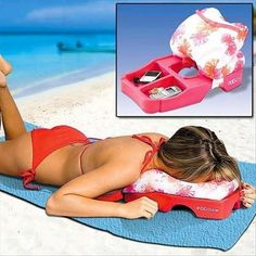 podillow - beach / massage pillow with security compartment for your phone, wallet, keys
