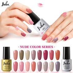 Belen 7ml LED UV Gel Polish Nude Color Series UV Gel Nails Base Top Coat Soak Off Nail Gel Holographic Nail Polish Nail lacquer