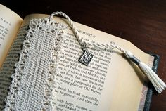Crochet Bookmark Handmade Long Tassel Book Charm by Draiguna