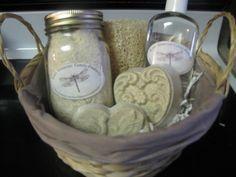 Valentine Homemade Gift Bath Basket  (Soap, Bubble Bath, Bath Salts, and a Organic Homegrown Loofah)