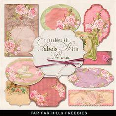 Regalos Kit de etiquetas de estilo vintage con las rosas: Muy Muy Hill - la base de datos libre de ilustraciones digitales y documentos