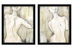 Love the subtle color palette and use of contour line!  Essence of Beauty Canvas, Set of Two on OneKingsLane.com