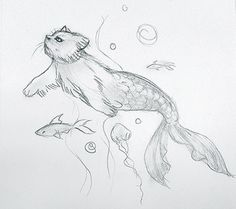 Ok ok last post for today, I seriously need to upload more frequently cuz I'm very sporadic but anyways here is my fave animal, a purrmaid <3 they need to exist  #purrmaid #mermaid #cat #sketch #semirealism