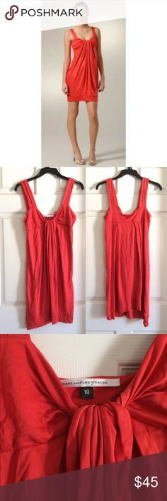 DVF Diane von Furstenberg Lear Drape Jersey Dress Poppy Orange, drapey, knotted detail at front, Stretchy, Banded hem, Pull-over style. In excellent condition! Diane von Furstenberg Dresses Mini