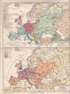 1894 Europa Völkerkarte Sprachenkarte Landkarte * Original Druck Lithographie