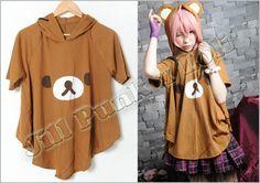Lolita Japan SanX Rilakkuma Butter cream puff hoodie poncho BR