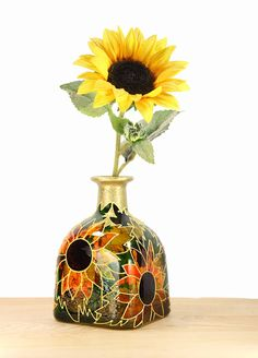 "Items similar to Hand Painted Glass ""Patron"" bottle Sunflower design Summer Home Decor - Decorative Glass Art on Etsy Broken Glass Art, Sea Glass Art, Stained Glass Art, Shattered Glass, Bottle Painting, Bottle Art, Liquor Bottle Crafts, Patron Bottle Crafts, Patron Bottles"