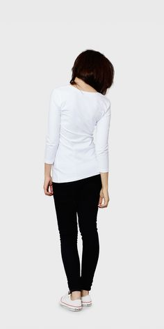 Women's white 3/4 sleeved scoop neck t-shirt | back view| The White T-Shirt Co