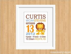Custom Birth Announcement Print Lion Art for by SimpleandStunning2, $20.00