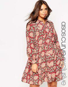 Image 1 ofASOS CURVE Belted Shirt Dress in 70's Floral