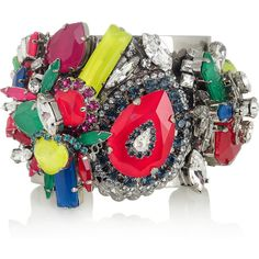 Erickson Beamon Colour Me Crazy silver-plated Swarovski crystal cuff ($585) ❤ liked on Polyvore