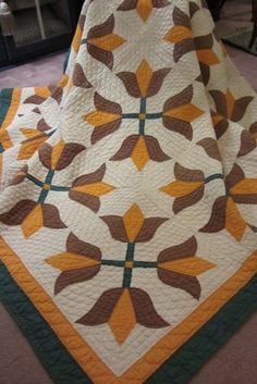 "Lovely Antique Tulip Patterned Quilt, late 1800's, 80"" square,WendyHuntersWindow, Etsy"
