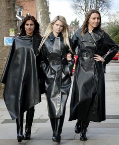 latex mackintoshes - love the one in the middle Black Raincoat, Pvc Raincoat, Heavy Rubber, Black Rubber, Sexy Stiefel, Mode Latex, Rubber Raincoats, Rain Gear, Latex Fashion