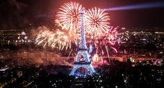 decorated with light displays and crowned by spectacular fireworks the eiffel tower was the centerpiece of celebration for france on july french national